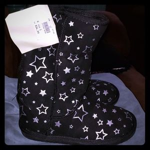 Star Print Faux Suede Cozy Boots